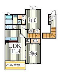フレスクーラ[2階]の間取り
