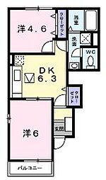 香川県坂出市西庄町の賃貸アパートの間取り