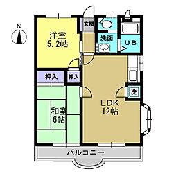 エステートオギシマ 3階2LDKの間取り