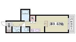 JR東海道・山陽本線 西明石駅 徒歩7分の賃貸マンション 8階1Kの間取り