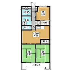 千代田グリーンハイツ[7階]の間取り