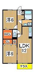 パルテールシノヤマ[202号室]の間取り