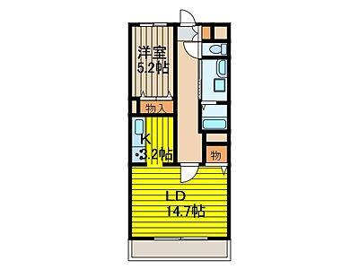間取り,1LDK,面積51.28m2,賃料11.5万円,JR京浜東北・根岸線 南浦和駅 徒歩14分,JR埼京線 武蔵浦和駅 徒歩17分,埼玉県さいたま市南区根岸5丁目