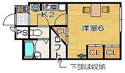 大阪府高槻市浦堂2丁目の賃貸アパートの間取り