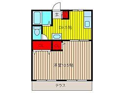 錦ハイツA[102号室]の間取り