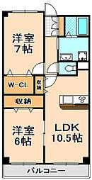 兵庫県伊丹市春日丘2丁目の賃貸マンションの間取り