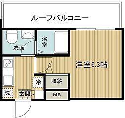 東急東横線 妙蓮寺駅 徒歩11分の賃貸マンション 4階1Kの間取り