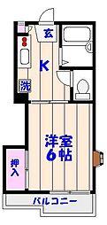ロジュマン海神[203号室]の間取り