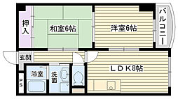 大阪府大阪市鶴見区緑1丁目の賃貸マンションの間取り