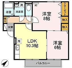 広島県府中市鵜飼町の賃貸アパートの間取り