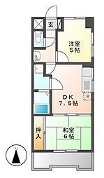松原メイトマンション[1階]の間取り