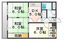 広島県福山市駅家町大字法成寺の賃貸マンションの間取り