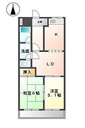 静岡県富士宮市山宮の賃貸マンションの間取り