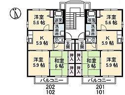 シャーメゾンソレイユ A棟[101号室]の間取り