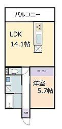 フォンテーヌ彦根 5階1LDKの間取り