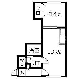 北海道札幌市東区北十九条東17丁目の賃貸アパートの間取り