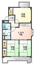 七反田ハイツ[4階]の間取り