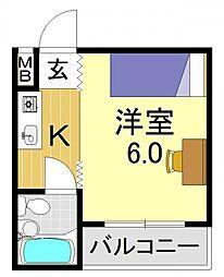 ミタカホーム7番[2O7号室号室]の間取り