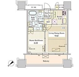JR中央線 飯田橋駅 徒歩3分の賃貸マンション 15階1LDKの間取り