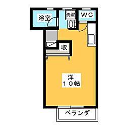 ガーデニア21B棟 2階ワンルームの間取り
