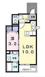 アネラ湘南1 1階1LDKの間取り