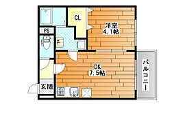 近鉄南大阪線 藤井寺駅 徒歩3分の賃貸マンション 3階1DKの間取り