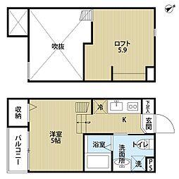 大阪府堺市西区浜寺石津町中5丁の賃貸アパートの間取り