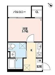 兵庫県神戸市長田区西代通4丁目の賃貸アパートの間取り