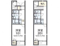 名鉄尾西線 西一宮駅 徒歩6分の賃貸アパート 1階1Kの間取り