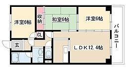 愛知県名古屋市天白区池見2丁目の賃貸マンションの間取り