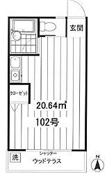 東京都文京区白山2丁目の賃貸アパートの間取り