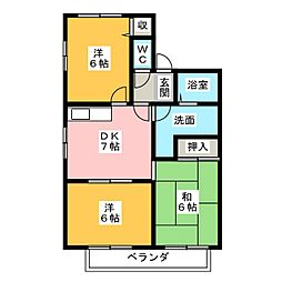 瑞穂パークハイツC棟[2階]の間取り