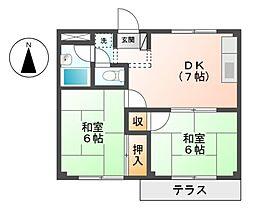 愛知県名古屋市緑区鳴海町字三高根の賃貸アパートの間取り
