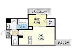 JR東海道・山陽本線 東淀川駅 徒歩1分の賃貸マンション 11階1DKの間取り