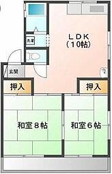 埼玉県鶴ヶ島市共栄町の賃貸アパートの間取り