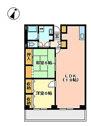 武蔵野第2パークマンション 6b[3階]の間取り