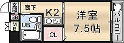 アピア御陵[203号室号室]の間取り