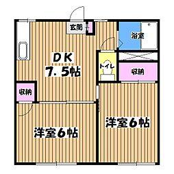 東京都昭島市武蔵野3丁目の賃貸アパートの間取り