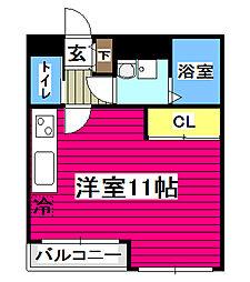 S-FORT片平 6階ワンルームの間取り