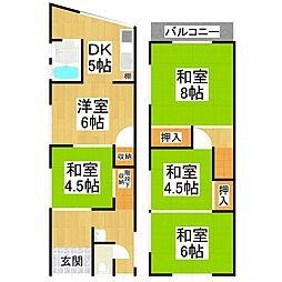堺市東区草尾287-4 1階5DKの間取り