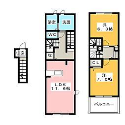 エボルシオン東光 B[2階]の間取り