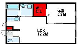 福岡県遠賀郡水巻町杁1丁目の賃貸アパートの間取り