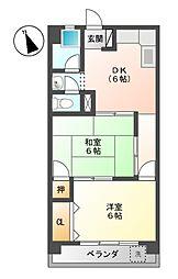 山田コーポラス[4階]の間取り