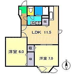 ラ・フォーレ 緑ヶ丘 Ⅱ[1階]の間取り
