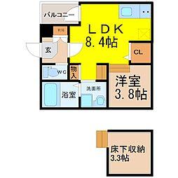 愛知県名古屋市緑区鳴海町字京田の賃貸アパートの間取り