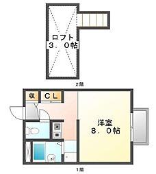 広島県三原市皆実4丁目の賃貸アパートの間取り