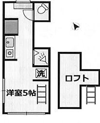 東京都新宿区戸山3丁目の賃貸アパートの間取り