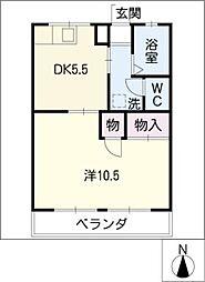コーポ梶田 1階1DKの間取り