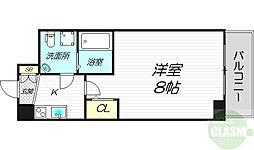 JR東海道・山陽本線 東淀川駅 徒歩4分の賃貸マンション 4階1Kの間取り