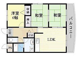 阪急千里線 南千里駅 徒歩23分の賃貸マンション 4階3LDKの間取り